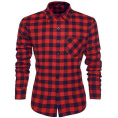 Coofandy Casual Plaid Long Sleeve Shirt Fashion T-shirts ($17) ❤ liked on Polyvore featuring tops, t-shirts, t shirts, plaid shirt, tartan plaid shirt, long sleeve tee and long sleeve plaid shirts