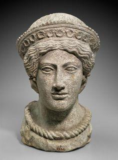 Female head. Italic, Etruscan. , about 400 B.C.  Terracotta