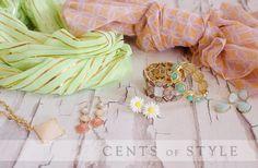 Mint & Peach Scarves