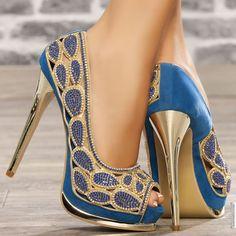 Peep toe platform high heels blue heels 14 cm size 36, online buy Escarpins woman MODATOI