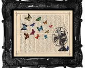 Spring Air BUTTERFLIES and antique fan original art vintage dictionary page butterfly book art print