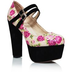 Floral High Heel Platform Mary-Jane Pump ❤ liked on Polyvore