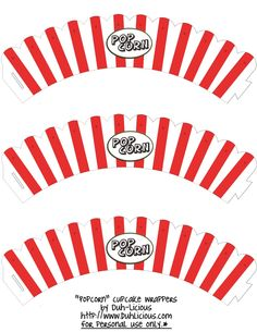 Popcorn Cupcake Wrappers for a Movie theme or a Circus/carnival theme party.