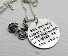 Retirement Gift Journey Necklace Bicycle by whiteliliedesigns
