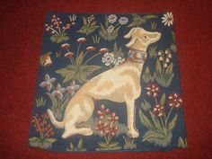 "BEAUTIFUL FRENCH COUNTRY FLORAL HOUND TAPESTRY PILLOW/CUSHION COVER 14"" X 14"""