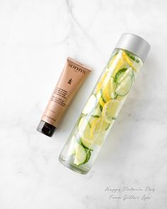 We recommend sipping on cucumber & lemon infused Spa water, and applying our Sothys Sunscreen Face and Body SPF 30. Protects against sunburn and premature aging. Includes vitamin E and sunflower extract and leaves the skin soft & supple. Every morning routine should include sunscreen!
