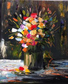 Virágcsokor. olaj, vászon, 30x20