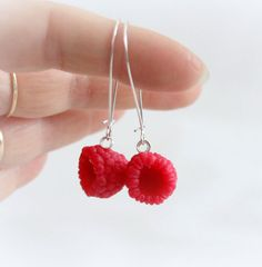 Red berries raspberry Earrings, Polymer clay jewelry, fresh summer Raspberry, Berry Fruit , handmade food