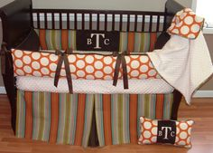 Jamison Baby Bedding  Included in this set is the bumper, soft minky backed blanket with stripe piping, and box pleat crib skirt.  There is lots of detail in this custom set including soft cream and chocolate minky, chocolate grosgrain ties and trim, and coordinating cotton stripe and dots.