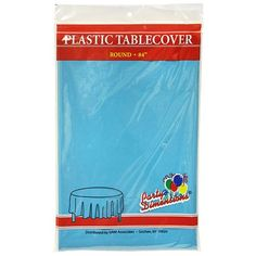 Party Dimensions Single Count Round Plastic Tablecover 84Inch Island Blue -- Details can be found by clicking on the image.