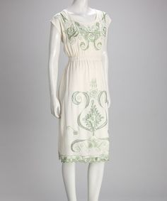 Yep - this is on its way to my closet as we speak. Ivory & Green Embroidered Dress by Eyelet & Embroidery Collection on #zulily today!