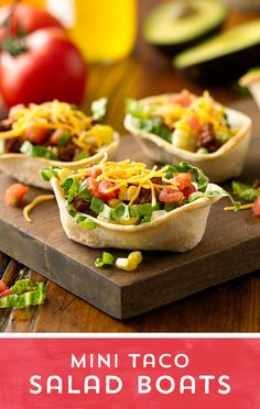 Love taco salad? Take it to go with these Mini Taco Salad Boats! Load new Mini Taco Boats with your favorite taco salad fixings, and enjoy a bite-sized taco you can take with you! Ready in just 20 minutes!