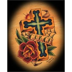 Grace Banner and Cross by Christopher Perrin Religious Design Tattoo Art Print. Orange County tattoo artist Christopher Perrin has had his work featured on skateboard decks for Frontier Youth Ministries and worked at Sid's Tattoo Parlor before opening Life After Death Tattoo in Costa Mesa, California. Influenced by his Christian faith, Christopher Perrin's artwork often has a religious theme.