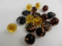Loose Black Gold Glass Foiled Beads  16 Assorted Beads