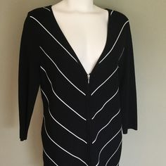 89th and Madison Cardigan Black and White  89th and Madison Cardigan Black and White. Black Cardigan with thin white accent stripe. Dark Bright black and bright white. Excellent condition. Zipper front. Size Large. 89th and Madison Sweaters Cardigans