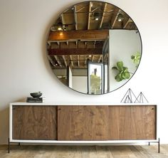 Rivera Credenza with Round Chambers Mirror x *custom sizes avail. Mirror Cut To Size, Large Round Mirror, Circular Mirror, Metal Mirror, Mirror Mirror, Reclaimed Wood Furniture, Industrial Furniture, Home Furniture, Furniture Design