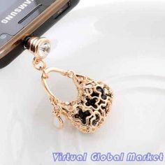 Elegant gold and black handbag phone charm