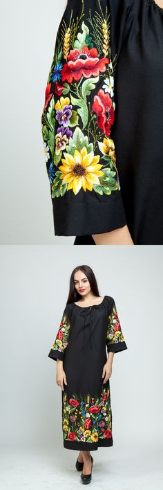 Hand Embroidery Stitches, Floral Embroidery, Embroidery Designs, Floral Midi Dress, Boho Dress, Art Flowers, Everyday Dresses, Handmade Dresses, Ethnic Fashion