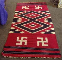 :::: ✿⊱╮☼ ☾ PINTEREST.COM christiancross ☀❤•♥•* :::: Native American Blanket Rug Ancient Swastika Motif