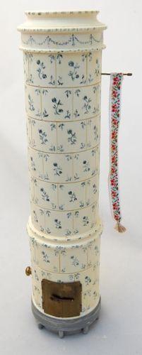 Scarce-Miniature-Dollhouse-Swedish-Tiled-Stove-Fireplace-Artisan-Charlotte-Hunt