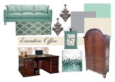 """""""Executive Office 2"""" by modern-glam-designs on Polyvore featuring interior, interiors, interior design, home, home decor, interior decorating, Blue Area and Madison Park"""