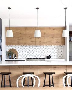 Kitchen Backsplash: Mosaic Tile Backsplashes For Small Kitchen Design Ideas With Wooden Cabinets And Minimalist Chandeliers. Trends in Backsplashes for Kitchen Counters Best Kitchen Backsplash, Ceramic Backsplash Tiles, Modern Kitchen Backsplash, Timber Kitchen, Kitchen Tops, New Kitchen, Kitchen Dining, Backsplash Design, Tile Design, Wood Backsplash, Kitchen Splashback Ideas