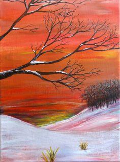 "Frosted - 9"" x 12"" original acrylic painting - silhouetted trees and snowy landscape"