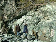 Veins of nephrite jade run deep through the mountains at the Siberian jade mine site near lake Baikal, Russia.
