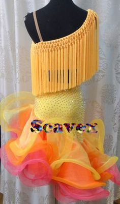 Women Ballroom Latin Rhythm Rumba Salsa Cha Dance Dress US 10 UK 12 Yellow Pink
