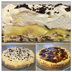 Denne nydelige kaken er laget av en marengsbunn m/kokos, toppet med vaniljekrem, svisker og kremfløte. Vi har valgt å bytte ut vaniljekrem... Pudding Desserts, No Bake Desserts, Norwegian Food, Dessert Drinks, Something Sweet, Let Them Eat Cake, Yummy Cakes, Chocolate Recipes, Cake Recipes
