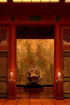 I could sit in this tranquil Chinese shrine all day and just soak up the serenity! The Nelson-Atkins Museum of Art in Kansas City, Missouri Buddhist Temple, Buddhist Art, Tibetan Art, Kansas City Missouri, Guanyin, Oriental, Beautiful Artwork, Chinese Art, Japanese Art