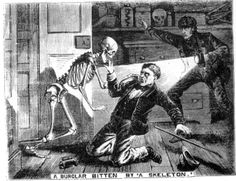 """The Illustrated Police News """"A burglar bitten by a skeleton"""""""