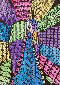 ACEO Le Print Zentangle Doodle Peacock Bird Zoo Jungle Animal Larusc   eBay