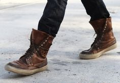 Leather sneaker boots!