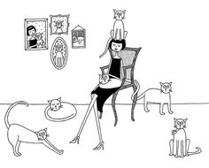 Cat lady // 8x10 art print by flapperdoodle on Etsy, $15.00