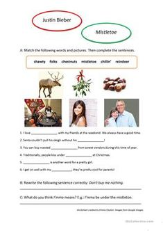 Song Worksheet: Mistletoe by Justin Bieber