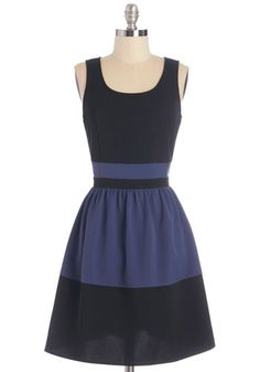 Stylish Score Dress - Blue, Black, Work, Casual, Colorblocking, A-line, Sleeveless, Fall, Woven, Good, Scoop, Mid-length