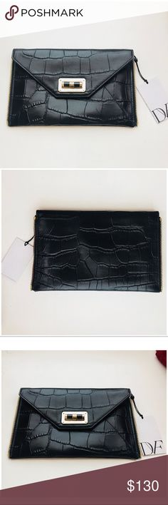DVF Secret Agent Clutch Black Croco Leather Brand new with tags DVF Diane Von Furstenberg Double Secret Agent Zip on clutch in black crocodile embossed 100% cow leather.  Customize your DVF Secret Agent tote with this zip on clutch. Fits on large or small totes, or can be worn alone. Features turnlock closure, zipper edge, eight card slots and an internal zip pocket.  Sold out in stores! Rare find -  Made in Italy. Diane Von Furstenberg Bags