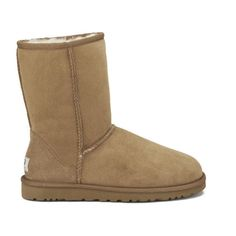 UGG Australia Women's Classic Short Sheepskin Boots - Chestnut ($235) ❤ liked on Polyvore featuring shoes, boots, ankle booties, uggs, chaussures, tan, tan boots, sheepskin boots, short boots and sheepskin booties
