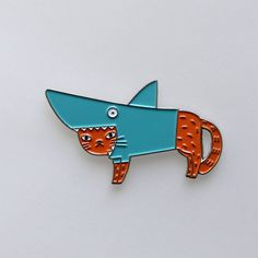 Shark Cat Pin by SurfingSloth on Etsy