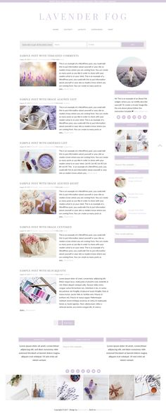 Beautiful Feminine Wordpress Blog Design built on Genesis framework. Perfect for bloggers, it has different layouts, so you can organize your blog posts the way you like!