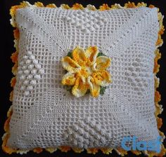 Square Crochet Pillows step by step for 2020 are also known as beloved pieces of our grandparents and consist of many crochet arts. Crochet Art, Filet Crochet, Easy Crochet, Crochet Flowers, Crochet Stitches, Crochet Patterns, Crochet Pillow Cases, Crochet Cushions, Square Patterns