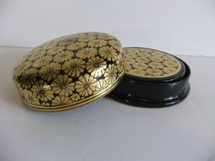 Vintage Coaster Gold and Black Lacquer Coasters
