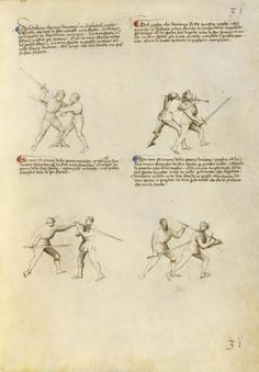 Combat with Sword Artist/Maker(s): Fiore Furlan dei Liberi da Premariacco, author [Italian, about 1340/1350 - before 1450] Date: about 1410 Medium: Tempera colors, gold leaf, silver leaf, and ink on parchment Dimensions: Leaf: 27.9 x 20.6 cm (11 x 8 1/8 in.) Object Number: 83.MR.183.29 Department: Manuscripts