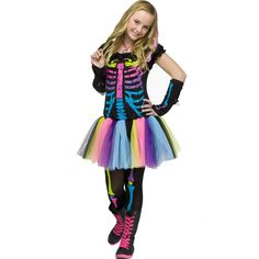 Funky Punk Bones Teen Costume (Junior-0/9) ** Insider's special review you can't miss. Read more  : Kids halloween costumes