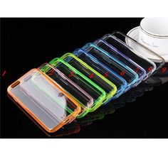 iPhone 6 Plus, 6 - Slim, Crystal Clear Back in Colored Frame Case in Assorted Colors