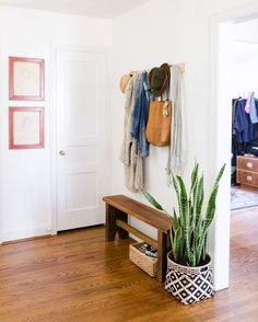 From hooks to floating shelves, learn how to prep your hallway for fall.