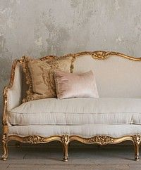 Vintage Gilt Louis Xv French Style Setttee Wood Carved Sofa