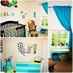 My sons nursery baby boy room blue lime green turquoise orange chevron picture collage paper lanterns DIY paint blocks wood furniture design decor interior design