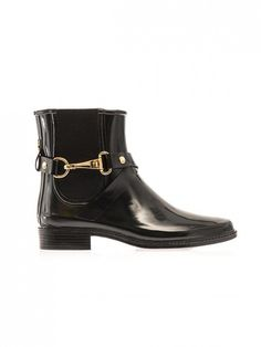 Buckled Burberry Brit Ackmar Chelsea Rain Boots in Black